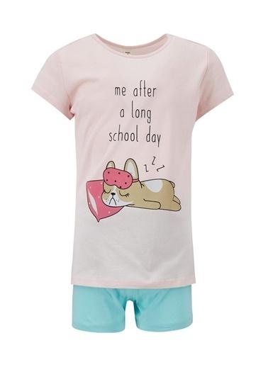 DeFacto Kız Çocuk Kedi Baskılı Kısa Kol Pijama Takımı Turkuaz